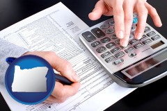 an accountant at work - with OR icon