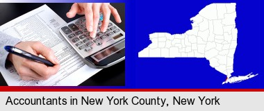 an accountant at work; New York County highlighted in red on a map