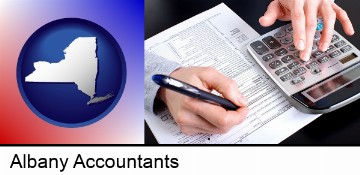 an accountant at work in Albany, NY
