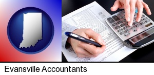 an accountant at work in Evansville, IN