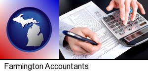 Farmington, Michigan - an accountant at work