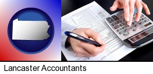 an accountant at work in Lancaster, PA