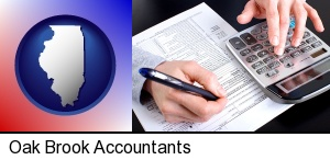an accountant at work in Oak Brook, IL