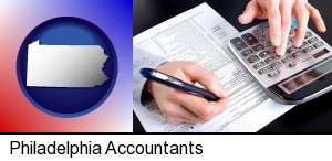 an accountant at work in Philadelphia, PA