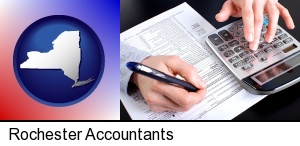 an accountant at work in Rochester, NY
