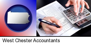West Chester, Pennsylvania - an accountant at work
